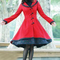 Elegant red woollen long coathttp://www.etsy.com/listing/51325520/elegant-red-woollen-long-coat