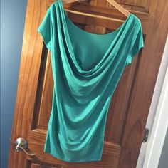 """End of Summer ⚡️Sale"" Green Drape Front Top I bought this from a boutique and there aren't any tags on the shirt. Excellent condition and I would say it would fit a S/M. Boutique Tops"