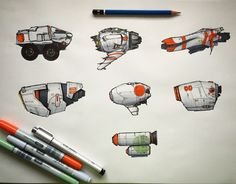 Copic Marker spaceships…