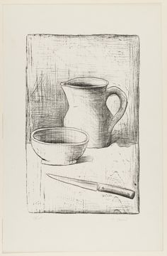 "Carlo Carrà. Still Life. (1944). Lithograph. composition: 14 1/4 x 9 1/8"" (36.2 x 23.1 cm); sheet: 19 5/16 x 12 3/4"" (49 x 32.4 cm). Purchase. 223.1952. © 2016 Carlo Carrà / Artists Rights Society (ARS), New York / SIAE, Rome. Drawings and Prints"