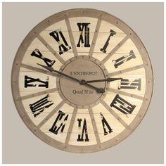 Horloges de bois sur pinterest horloge en bois horloge - Horloge murale style gare ...