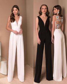 Woow White Or Black ? Through Olyamak_Official . Civil Wedding Dresses, Bridal Dresses, Prom Dresses, Formal Dresses, Classy Dress, Classy Outfits, Dress Outfits, Fashion Dresses, Bridal Jumpsuit