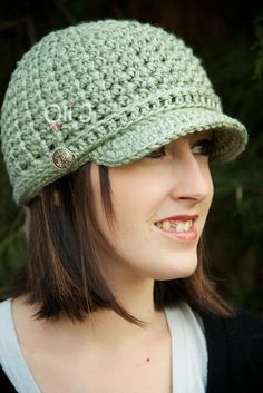 Women's Brimmed Beanie  Mint by OliJAccessories on Etsy, $25.00