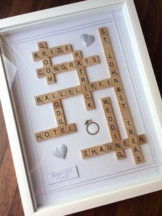 Wedding Gift Frame  Personalised Scrabble by TheLittleBlueJumper