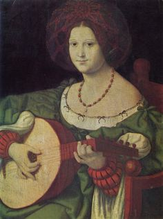 Andrea Solario.  Lautenspielerin. 1. Viertel 16. Jh., Öl auf Holz, 62,6 × 49,5 cm. Rom, Galleria Nazionale d'Arte Antica. Italien. Renaissance.