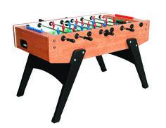 Garlando Grey Oak Foosball Table with Telescopic Steel (Silver) Bars, Ergonomic Handles, Abacus Scorers and 10 Standard Balls
