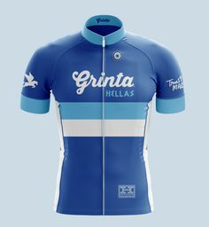 """PRE-ORDER. EXPECTED DELIVERY MID-JANUARY 2017. Greek Heritage : Grinta Cycling Jersey. Design features the Grinta logotype in White on Greek Blue with """"Hellas"""" type in Dark Blue on White Stripe, thinner Light Blue Stripe below, and Light Blue Polka Dots from stripe to hem.Styles:• Training (Club) : Short Sleeve • Training (Club) : Long Sleeve. Design Art on Training Long Sleeve will be similar to Training Short Sleeve.• PRO : Longer short sleeves and vented under arm material. Aero ..."""
