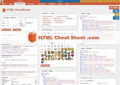 Online interactive HTML Cheat Sheet contains useful code examples and web developer tools, markup generators and more.
