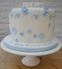 Buttons and Bunting Christening cake