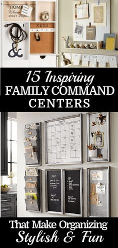 A family command center is a perfect way to organize a busy family! These DIY family command center ideas will help you organize and keep track of your mail, calendars, kid's homework, backpacks, and school papers! Get your house and life organized for back to school now with these inspiring family command centers for your kitchen or office! #organization #organizing