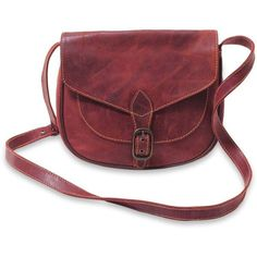 Brown Leather Flap Front Handcrafted Shoulder Bag Makassar Brown ❤ liked on Polyvore featuring bags, handbags, shoulder bags, accessories, red purse, red handbags, brown purse, red shoulder handbags and shoulder hand bags