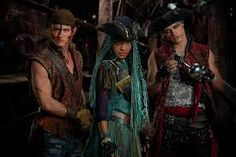 China Anne MicClain as Uma Thomas Doherty as Harry and Dylan PlayFair as Gil the son of Gaston Disney Channel Descendants 2, Descendants Characters, Descendants Cast, Descendants Costumes, Disney Characters, High School Musical, Descendants Pictures, Harry Hook, China Anne Mcclain