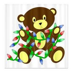 Christmas Lights Bear Shower Curtain> Christmas Lights Bear from Flamin Graphic Designs