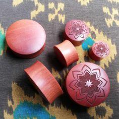 Pair of Saba wood Mandala Designed Plugs Available SIZE by anajus