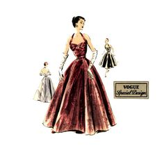 1950s Vintage Sewing Pattern Evening Dress Vogue by CynicalGirl