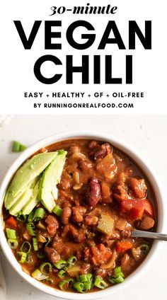 This easy vegan chili is ready in just making it perfect for a hearty, healthy weeknight meal. This easy vegan chili is ready in just making it perfect for a hearty, healthy weeknight meal. Chili Recipes, Real Food Recipes, Vegetarian Recipes, Healthy Recipes, Vegetarian Diets, Easy Vegan Chili, Healthy Chili, Vegan Chilli Recipe, 21 Day Fix
