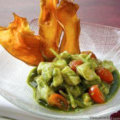 mahi mahi ceviche  | mahi, avocado, cherry tomato, cilantro, basil, sweet potato chips