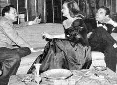 Bette, Joe Mankiewicz and Gary Merrill behind the scenes of All About Eve