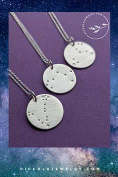 Our hand stamped astrological sign pendant features indentations representing stars in a constellation, connected with fine lines. Each necklace comes with a card highlighting the characteristics of the Horoscope constellation chosen during checkout. Makes a thoughtful and unique birthday, graduation, Christmas or *just because* gift idea for a teen, tween daughter. Constellations include: Aries, Taurus, Pisces, Scorpio, Virgo, Libra, Leo, Sagittarius, Capricorn, Gemini, Cancer, Aries… Astrological Sign, Astrology Signs, Sagittarius, Aquarius, Constellation Necklace, Family Necklace, Zodiac Constellations, Just Because Gifts, Unique Birthday Gifts