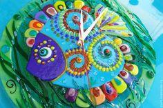 Часы для дома ручной работы. Ярмарка Мастеров - ручная работа. Купить Часы настенные из стекла. Подводный мир. Фьюзинг. Стекло.. Handmade.