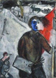 Marc y Bella serios, de perfil. 1943,El nazismo que acecha el mundo de los judíos, de Vitebsk, de París, Las caras se fusionan ante los recuerdos en común, Su madre simbolizada por la gallina, agitando las alas de ave-humana, indefensa. No sabemos cuál de los dos impone el deber de informar al otro El pintor de cara azul, la mujer blanca y el manto rojo forman un tricolor que evoca los largos años que pasó en París, Between Darkness and Light, 1943 par Marc Chagall (1887-1985)