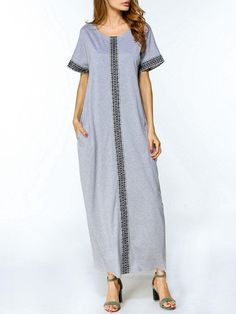#AdoreWe #Fashionmia Fashionmia Loose Round Neck Pocket Printed Short Sleeve Maxi Dress - AdoreWe.com