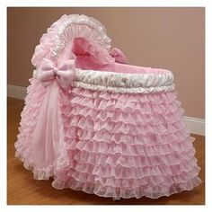 I want this pink frilley ruffley bassinet for my reborn baby girls. $600.