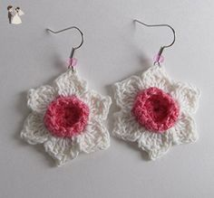 Crochet Dark Pink & White Daffodil Earrings / Cotton Thread Jonquils / Mother's Day Gift Jewelry / Wedding Bridal Floral Jewellery / Narcissus Spring Easter Earrings - Wedding earings (*Amazon Partner-Link)