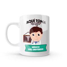 Mug - Aquí toma el mejor médico del universo, encuentra este producto en nuestra tienda online y personalízalo con un nombre o mensaje. Chocolate Caliente, Snoopy, Mugs, Tableware, Character, Social, Art, Dietitian, Occupational Therapist