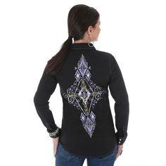 Wrangle ROCK 47 AZTEC EMBROIDERY ARENA Western Shirt RHINESTONES Cowgirl M NWT #wranglerrock47 #Western