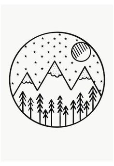 Minimalist art 839780661752229813 - Monochrome Mountains Forest Theme Hand Drawn Art – Source by Easy Doodles Drawings, Easy Doodle Art, Cute Easy Drawings, Mini Drawings, Cute Little Drawings, Simple Doodles, Pencil Art Drawings, Cool Art Drawings, Tattoo Drawings