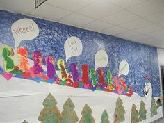 Check out this AdOraBle sledding bulletin board.what fun it is!our principal is the snowman! December Bulletin Boards, Winter Bulletin Boards, Classroom Bulletin Boards, Classroom Walls, Classroom Displays, Class Art Projects, Kindergarten Projects, Kindergarten Rocks, Winter Activities