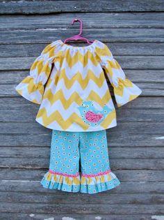 Yellow Chevron Birdie outfit