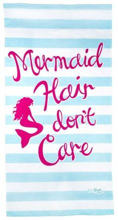 Towels to show your mermaid side! Fin Fun branded beach towels for kids, teens and adults featuring Mermaidens, FinFriends and mermaid quotes.
