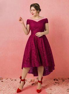 Plus Size Burgundy Hi Lo Lace Sleeveless Prom Dress