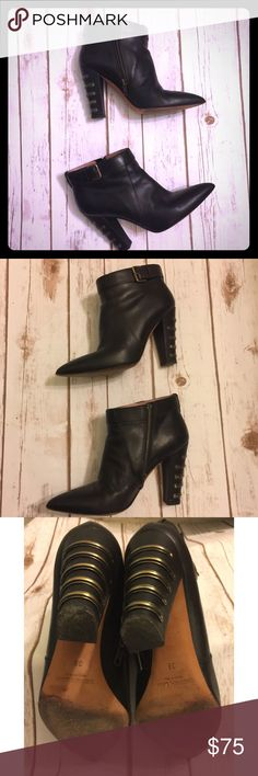 Derek Lam leather booties Sharp booties made of buttery leather with metallic accents at heels. Booties are a designer size 39 but run slightly smaller due to the pointed toe shape. Some wear & scuffing on the soles but otherwise in great condition. EUC Derek Lam Shoes Ankle Boots & Booties