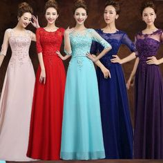 2016 Hot Sale Sexy Sheer Evening Gowns Long Sleeves Floor Length Lace Chiffon Formal Prom Evening Party Dresses