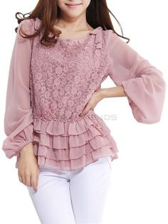 dfdc71415ca55 Women s Pure Color Long Sleeve Ruffles Lace Crochet Chiffon Top on  buytrends.com