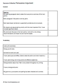 Persuasive Writing Effective Feedback Checklist  Writing Class