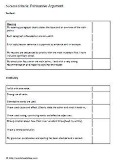 Persuasive Writing Effective Feedback Checklist  Writing Class