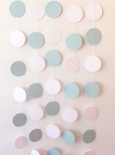 Blue & White Circle Paper Garland 10 ft - Wedding, Birthday, Bridal Shower, Baby Shower, Boy Birthday, Beach Wedding, Party Decor