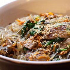 Korean Steak Noodles  This traditional Korean noodle dish is called japchae, and it's totally appealing to kids, given its sweetness, saltiness, and steakiness. Sweet potato noodles are transparent and chewy.