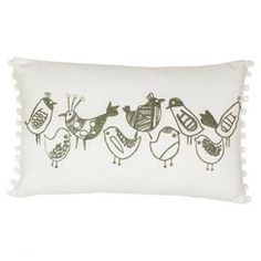 A charming addition to your child's bedspread or country sofa, this cotton cushion features whimsical bird motifs and a neutral tone. Arrange in a group of cushions that includes floral prints and block coloured pastels to create a striking focal point.   Product: CushionConstruction Material: Cotton pileColour: MultiFeatures: Insert includedDimensions: 43 cm x 43 cm