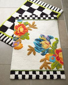 Courtly Check® & Flower Market Bath Mats by MacKenzie-Childs at Horchow.