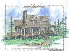 Catch Pen Cabin Front Elevation -- Natural Element Homes Log Home Plans, Cabin Plans, Home Design Plans, Plan Design, Dream House Plans, House Floor Plans, Old Farm Houses, Small Houses, Steel House