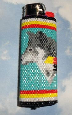 Wolf Medicine Beaded Lighter Cover by SoaringHawkTraders on Etsy