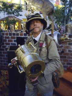 A steampunk explorer is always ready for any peril the urban jungle may throw at him!