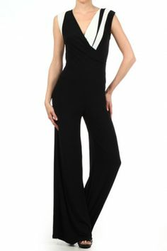 #salediem #blackandwhite #fashion Color blocked, sleeveless jumpsuit with cross over bodice, v-neck, and wide leg pants
