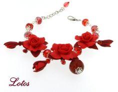 Exclusive Handmade Summer Flower Bracelet Blue ultramarine. #red #flower #bracelet
