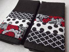 Kitchen Towel Set Black White Red Handmade Kitchen by AugustAve, $26.00